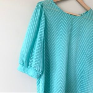 Everly semi sheer teal textured chevron blouse